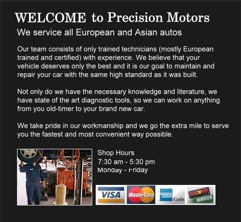 WELCOME to Precision Motors